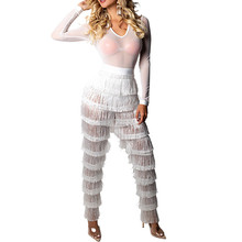 f54b0a423a92 Doyerl White Tassel Sheer Mesh Sexy Costumes Long Pants Transparent Bodysuit