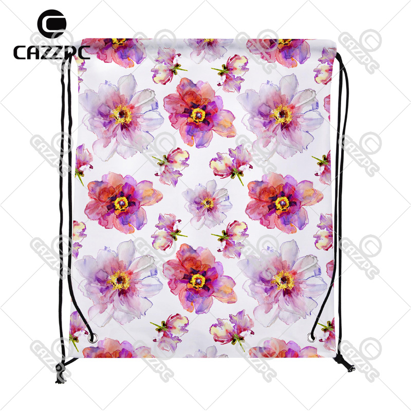 Watercolor Pink White Peony Flowers Allover Pattern Print individual Nylon Fabric Drawstring Shoes Storage Dust Bag Pack of 4