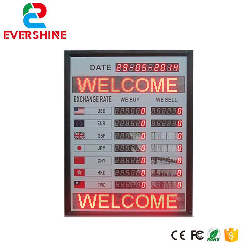 International application exchange rate board 7 rows 6 digital led electronic exchange rate board usage for bank zipower pm 4110