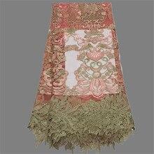 High class Französisch tüll stoff mit blumen schnur spitzes Afrikanische tüll mesh tuch für abendkleid PNZ94 (5 yards/lot)