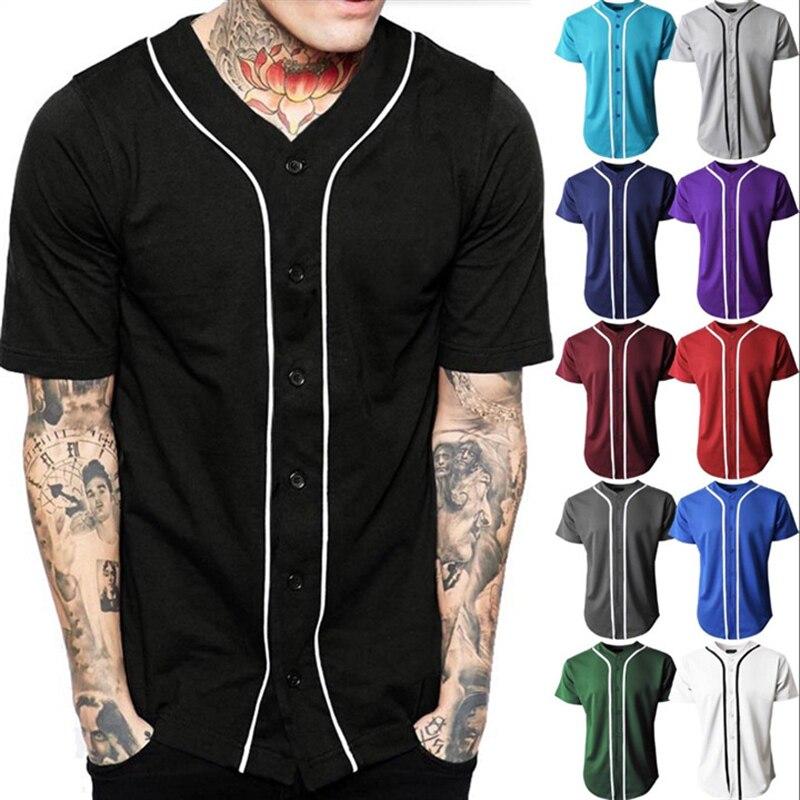 Black Baseball Jersey Men Short Sleeve V Neck Mens Buttons Tee Shirt Homme Baseball Shirt Men/Women Soft Breathable Hip Hop Tops