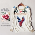 G new winter sweater female turtleneck sweater star with embroidery sweater