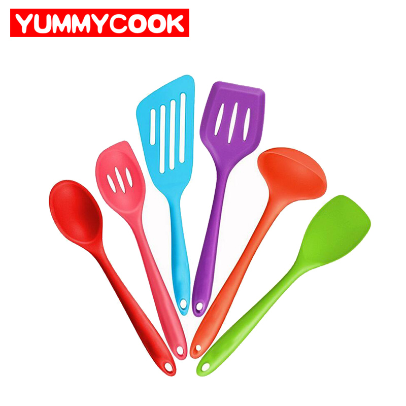 6pcs set Silicone Colorful Cooking Utensil Set Fish Slice Spoon Frying Shovel Spatula Colander Kitchen Tool
