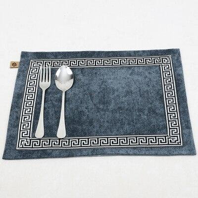 Лоскутный с вышивкой кружевное китайские столовые приборы стол колодки Статуэтка винтажный Европейский стиль бархатная ткань Настольный коврик - Цвет: Темно-серый