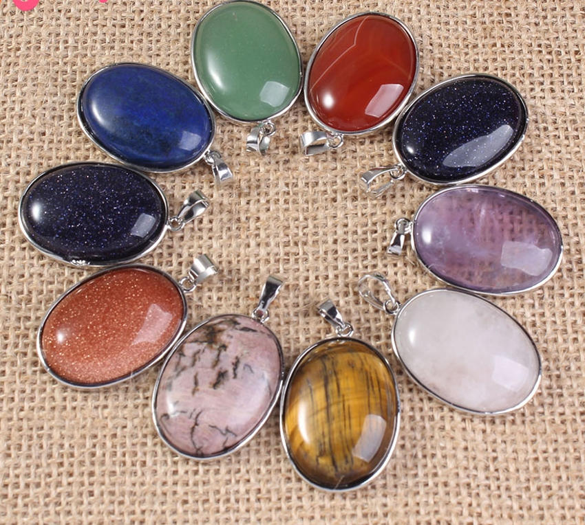 XSM Wholesale 10pc Natural Classic Egg Amethyst Rock Crystal Quartz Opal Agate Pendant For Womwn Free Shipping