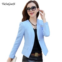 New Spring 2017 Female Slim Fit Long Sleeved Thin Blazer Fashion Single Button Short Women Blazers