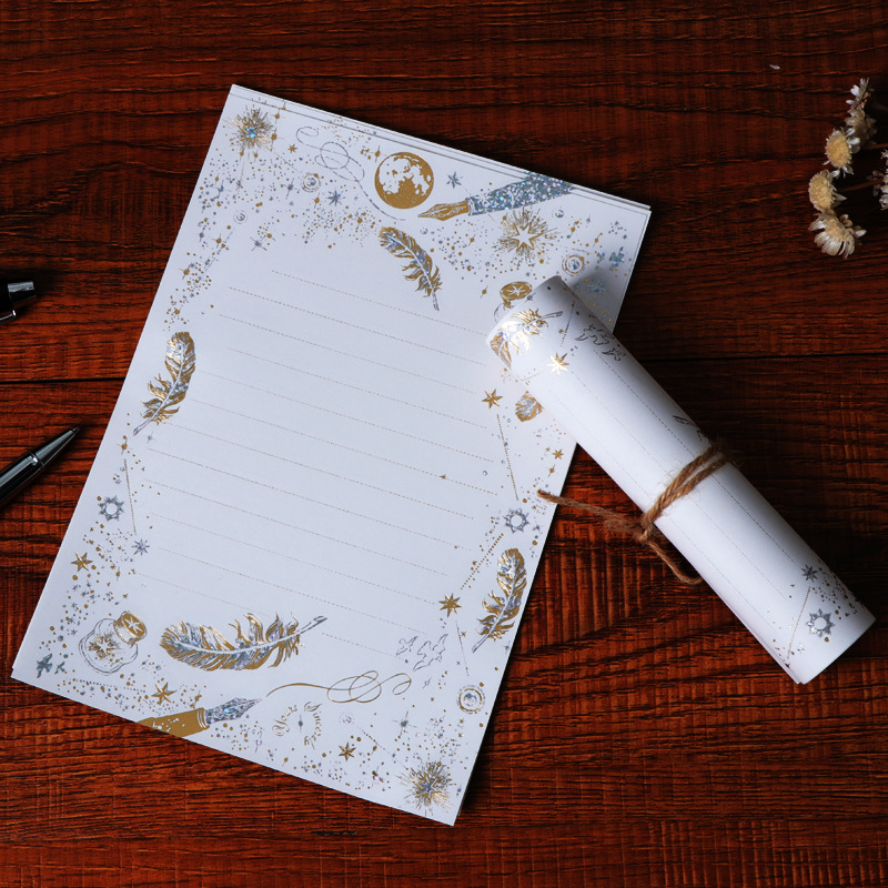 8Pcs/lot Europe type Vintage High-end Bronzing Feather Blessing Letter Paper Letter Pad Writing Paper Office&School Supplie XZ03