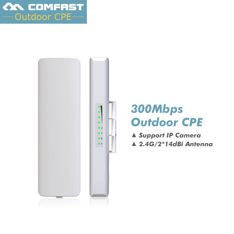 Comfast 2.4G Outdoor CPE bridge 300Mbps Long Range Signal Booster Extender 3km Wireless AP 2*14dbi Wifi Repeater Nanostatio