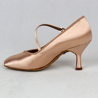Women Standard Dance Shoes BD 138 ClASSIC Fresh Tan Satin High Low Heel Ladies Ballroom Dance Shoes Soft Outsole Modern Dance 2