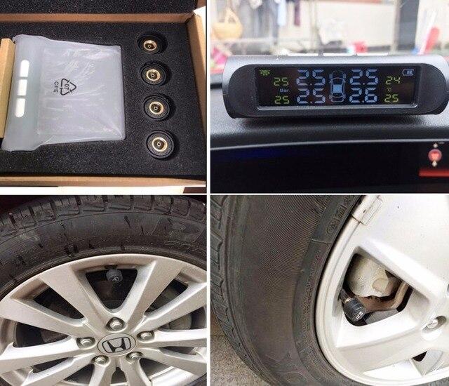Solar TPMS Car Tire Pressure Alarm Monitor System 4 Wheel Internal External Tyre Sensor Temperature Alert D02W D02N Pro Visture 3