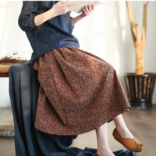 Gentle Romantic Small Floral Flowers Print Pleated Skirt Saia Mori Girl 2018 New