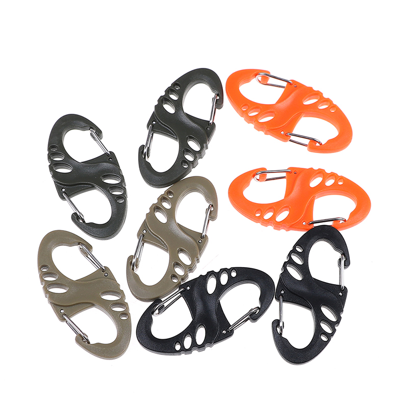 10PCS/Lot Plastic Steel Mini Climbing Hook S Type Carabiner Dual Buckle EDC Keychain Tactical Survival Tool