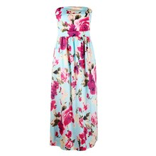 2019 Sexy Women Strapless Sleeveless Beach Dresses Summer Floral Print Maxi Dress Female Backless Party Dress bohemian strapless sleeveless floral print women s dress