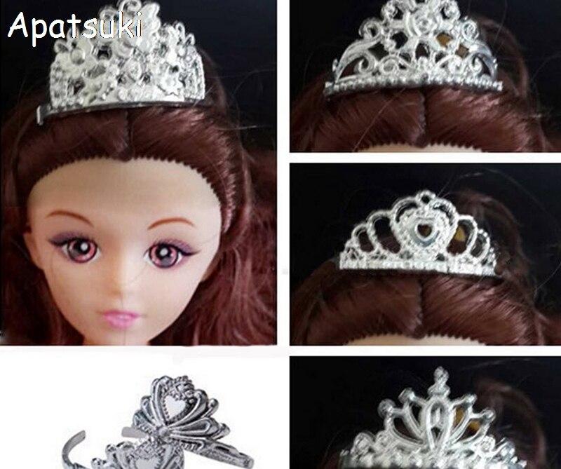 5 pçs/lote Acessórios Da Boneca De Plástico Coroa Tiara Headwear Acessórios Para o Cabelo Hairwear Para Casa de Bonecas Barbie Para 1/6 Boneca BJD