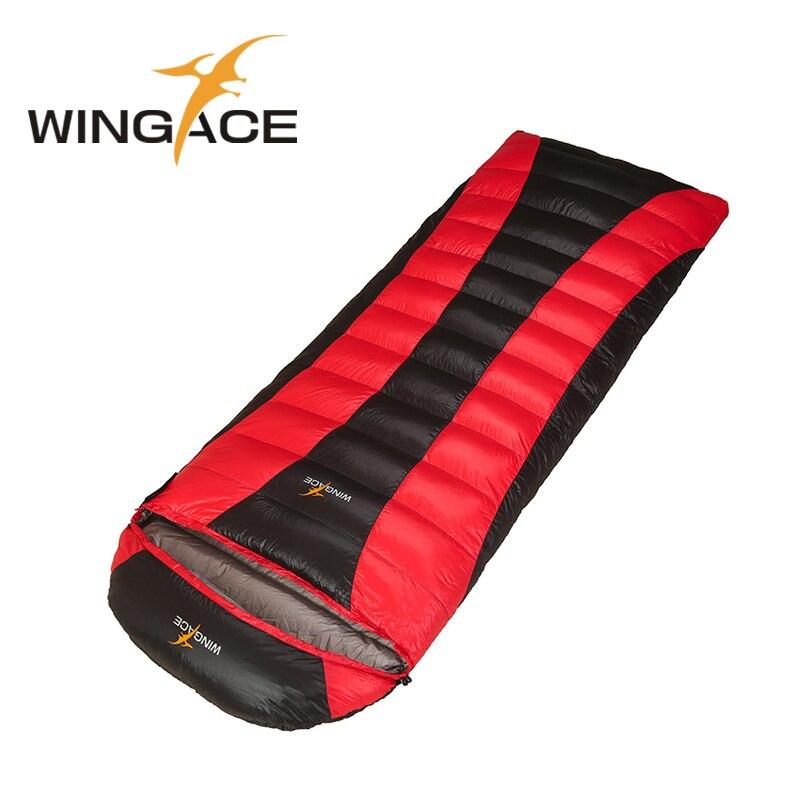 WINGACE saco de dormir al aire libre de invierno relleno 2000G ganso abajo Camping saco de dormir largo 230/210 CM sobre dormir bolsas para adultos