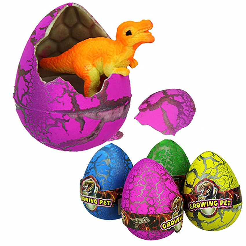 5Pcs Large Colorful Water Hatching Inflation Dinosaur Egg Dinosaur Toy Watercolor Cracks Grow Egg Novelty Gag Toys Egg Surprise