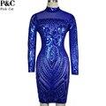 2017 Женщин Сексуальные Платья Партии Ночной Клуб Dress Плюс Размер Royal Blue Party Dress Геометрический Узор Блесток Bodycon Лето Dress