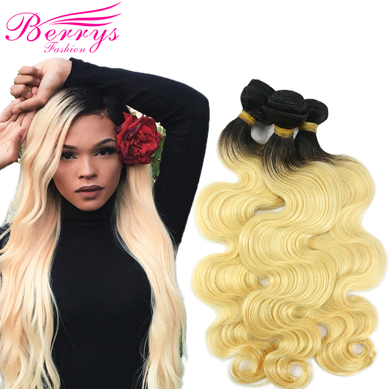 1b 613 Body Wave European Hair Extensions 3 PCS Lot Blonde Remy hair with Black