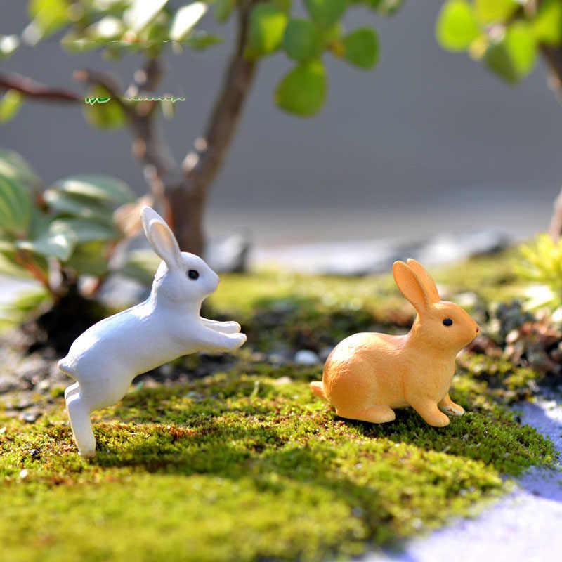 4 Pcs วิ่ง/นั่งกระต่ายการ์เด้นเครื่องประดับ Miniature Figurine Plant Fairy สังเคราะห์เรซิ่น MINI สัตว์ Fairy Garden Decor