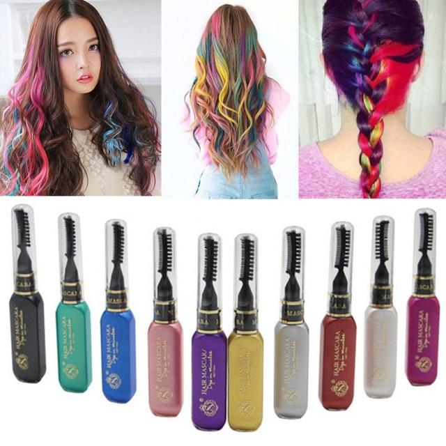 Pro Temporary Color Hair Dye Mascara Non Toxic Hair Mix Color Dyeing