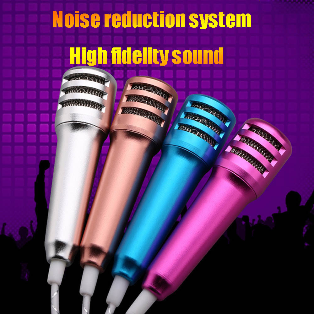 Newest Mini Cell phone microphone Karaoke Condenser Microphone With Earphone For Phone Computer Mini PhoneMic