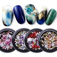 1 коробка смешанные цветные Стразы для ногтей 3D хрустальные камни для дизайна ногтей украшения Diy Дизайн Маникюр s Розовый декор