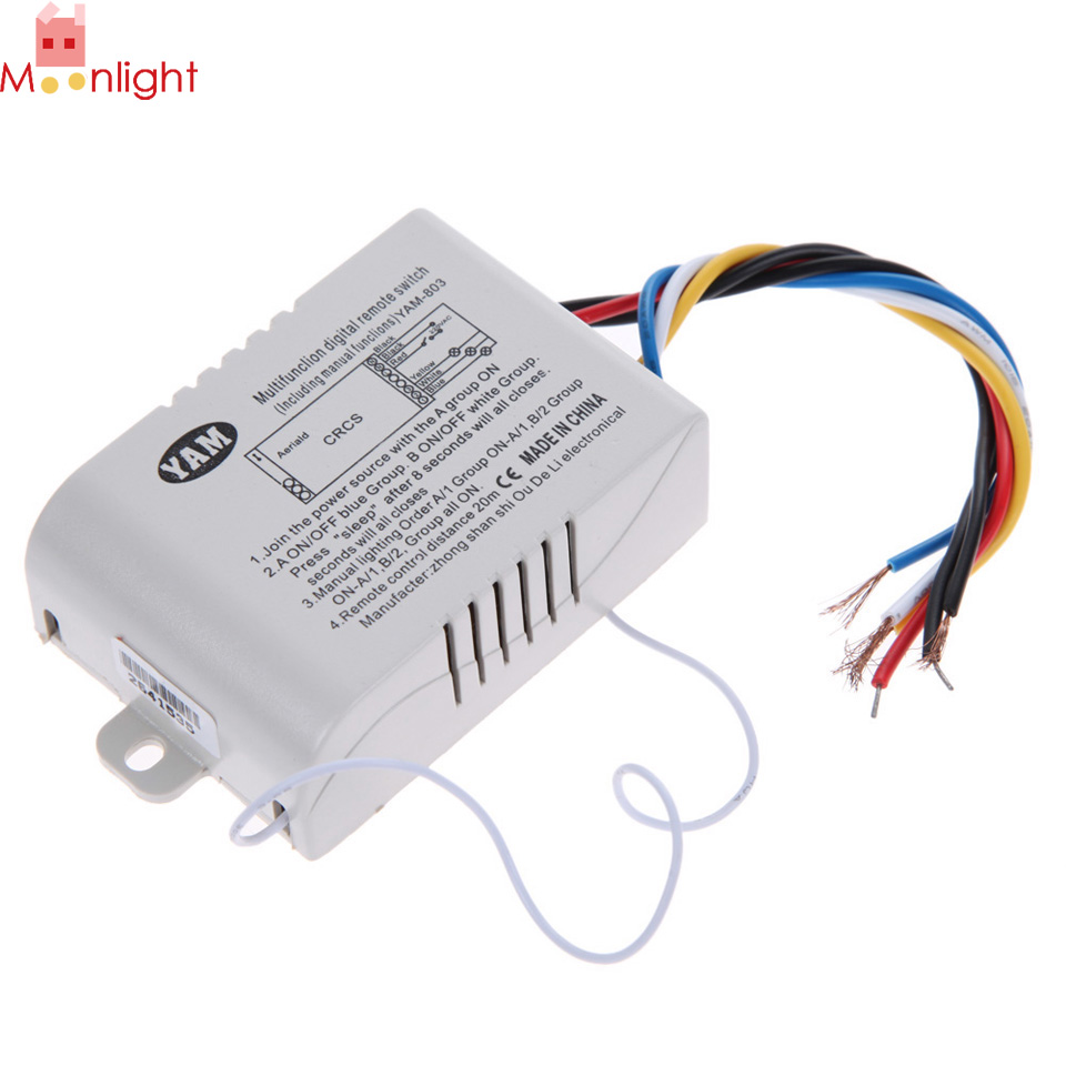 3 Way Port ON/OFF 220V Lamp Light Digital Wireless Wall Remote Control Switch Receiver Transmitter купить