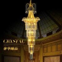 Дуплекс столовая хрустальная люстра вилла лестница большая Хрустальная люстра холле отеля роскошный LED Хрустальная люстра Хрустальные под