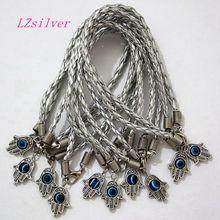 Lot - 100Pcs HAMSA HAND Evil Eye Silver String Bracelets Lucky Charm Pendant 01765