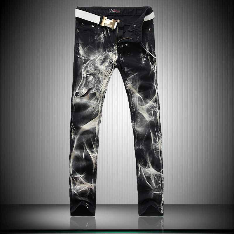 High-end Spring Autumn Men Personality Wolf Pattern Jeans Male Slim Straight Denim Trousers Unique Print Night Club Denim Pants grey 2015 spring male personality splice skinny pants the trend straight trousers slim long trousers thin men skinny jeans
