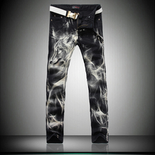 Spring Autumn Men Personality Wolf Pattern Jeans Male Slim Straight Denim Trousers Unique Print Night Club Denim Pants