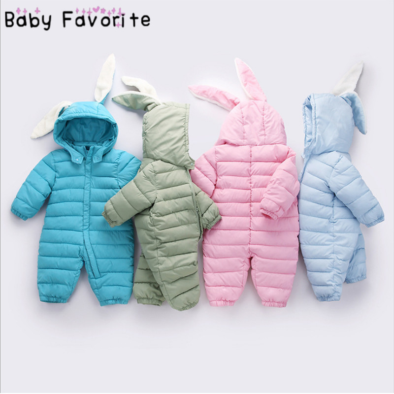 Baby Favorite Winter Warm   Rompers   for Baby Girls and Boys clothing Autumn Jumpsuit Rabbit Ear Style Overalls Newborn one-site