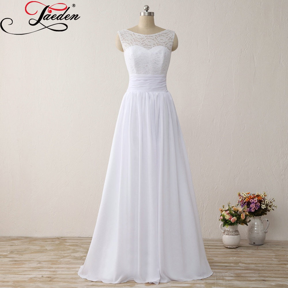 JAEDEN Cheap White font b Bridal b font font b Gowns b font Simple Chiffon Lace