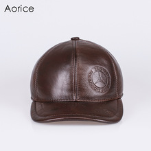 HL131  genuine leather baseball cap hat brand new mens real cow skin hats/caps with 4 colors