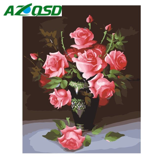 AZQSD Painting By Numbers Frameless 40x50cm Rose Red Flowers Oil Painting Picture By numbers On Canvas Home Decor szyh089