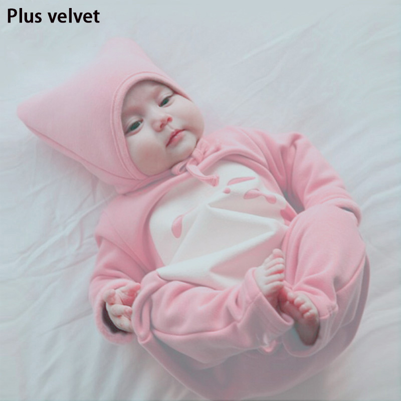 2016 new winter  Winter with removable cap Plus velvet Thicken Gray and Pink new born baby boy cloths overalls sets  for baby2016 new winter  Winter with removable cap Plus velvet Thicken Gray and Pink new born baby boy cloths overalls sets  for baby