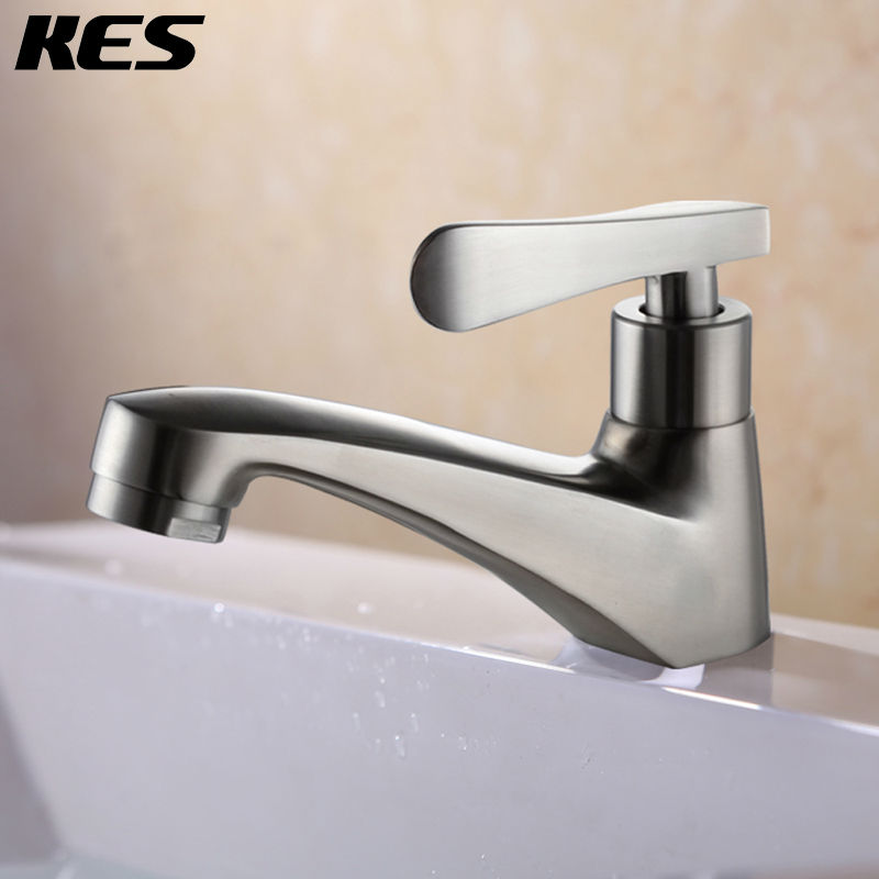 KES SUS Stainless Steel Single Cold Tap Bathroom Sink Faucet - Brushed stainless steel bathroom faucet