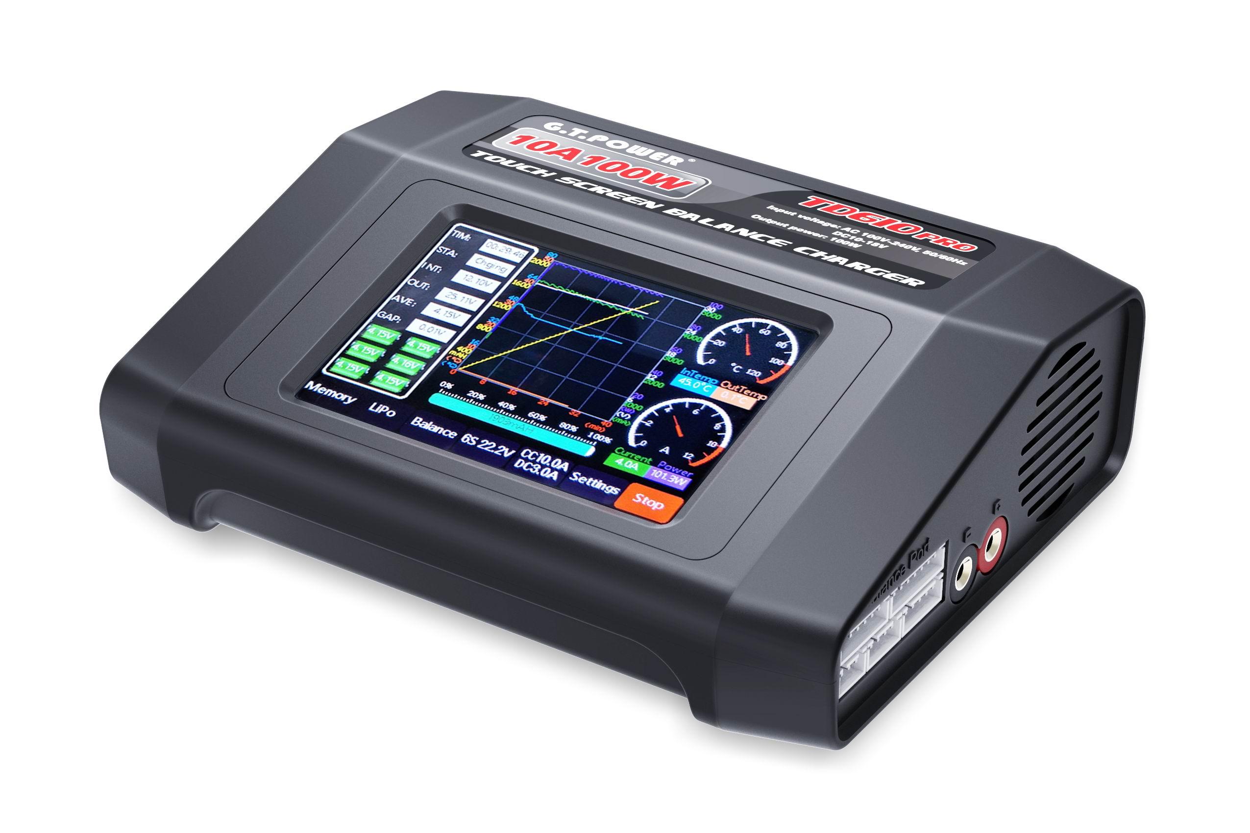 Зарядное устройство JMT GTP TD610 PRO, 100-240 В переменного тока, цветной сенсорный экран, 100 Вт, 10 А, для 1-6S LiPo Lilon LiFe LiHV 1-14S NiCd NiMH