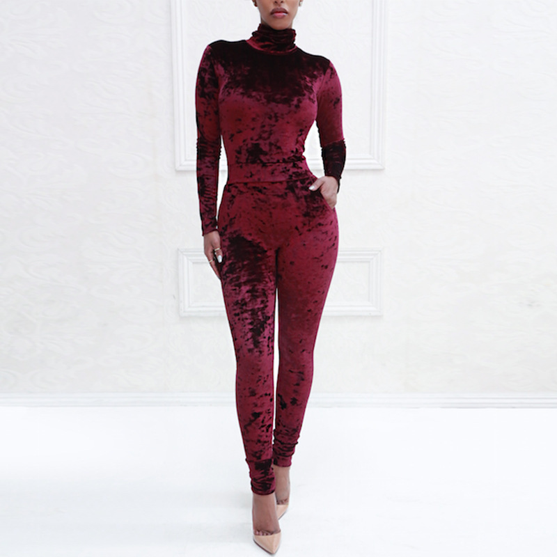 MUXU autumn winter women long sleeve velvet jumpsuit sexy bodysuit body feminino rompers womens jumpsuits for women streetwear