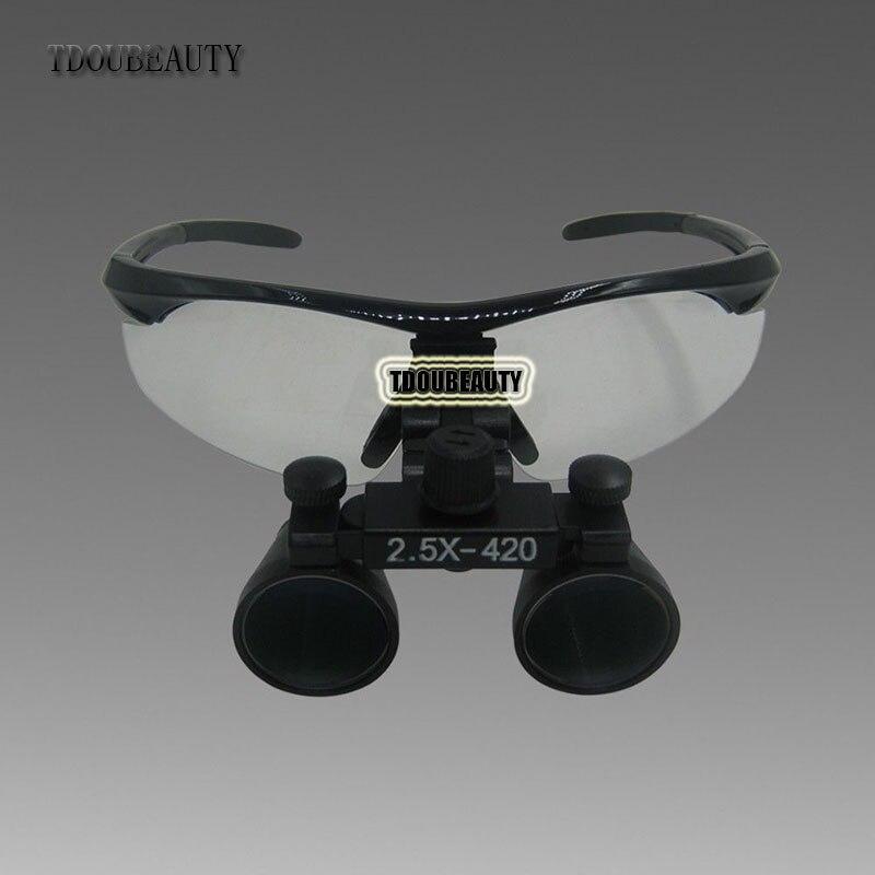 TDOUBEAUTY New 2.5x 420mm Surgical Binocular Loupes +Head Light Lamp +Aluminum Box(Black) Free Shipping