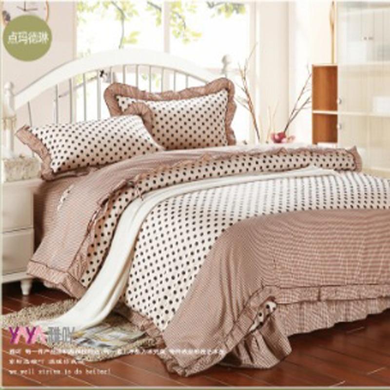 Bedding Korean Quilts Bedsheet Cotton Black White Polka Dot