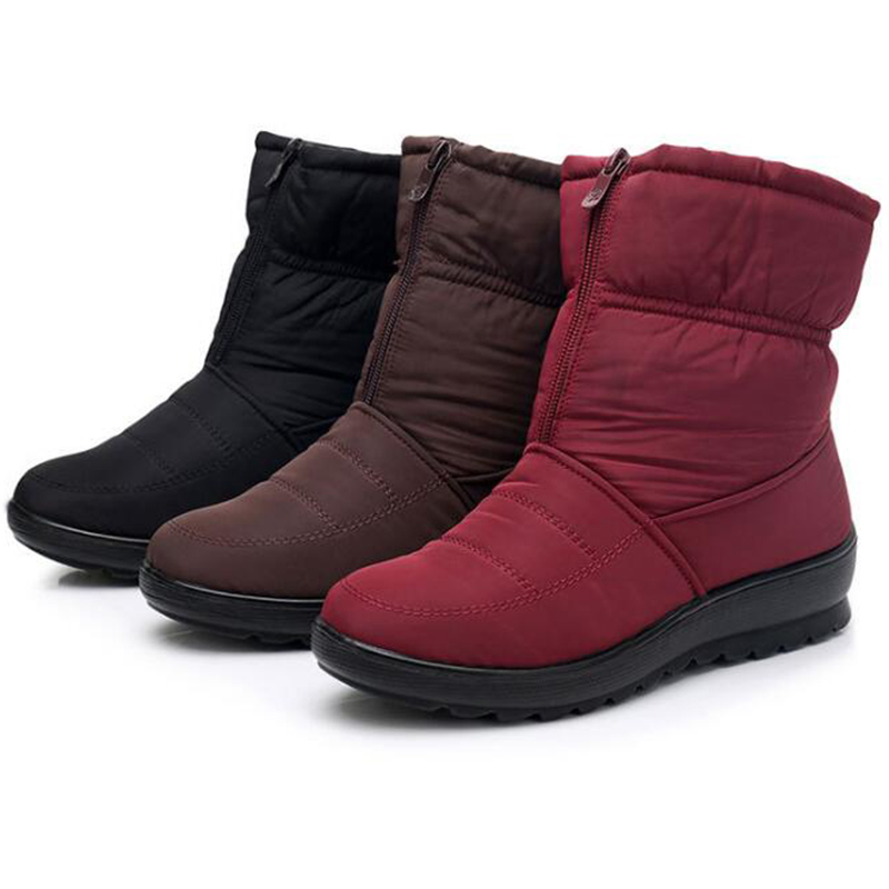 Impermeables Tobillo Cremallera Invierno 2019 La Antideslizante De Caliente Cuñas rojo Botas Wbs954 Negro Mujeres Las Nieve Covoyyar Clima Frío Para marrón Piel Zapatos 4wdq46