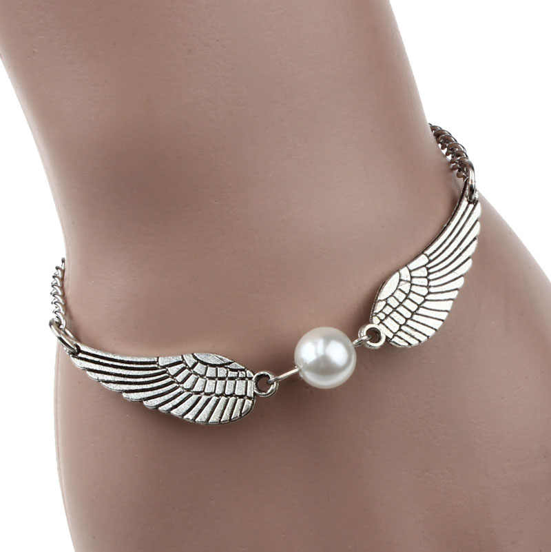 New Style! 2018 Minimalism Silver Infinity Retro Pearl Angel Wings Jewelry Dove Peace Bracelet & Bangles For Women Men  H0212