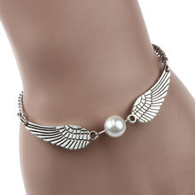 New Style! 2018 Minimalism Silver Infinity Retro Pearl Angel Wings Jewelry Dove Peace Bracelet & Bangles For Women Men H0212(China)