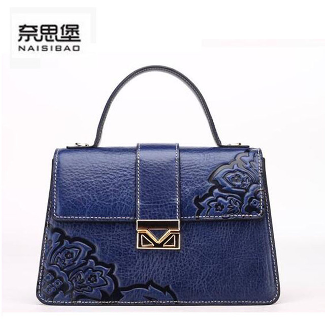2016 New women bag genuine leather brands cowhide fashion retro chinese style embossing women leather  handbags shoulder bag