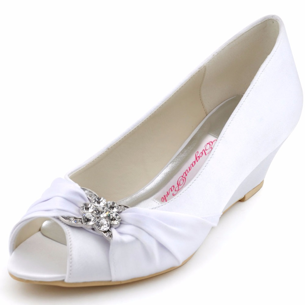 Shoes Woman WP1403 White ivory Peep Toe Bridal Party Pumps Prom Evening Wedge Heels Rhinestones Satin Women Wedding Shoes