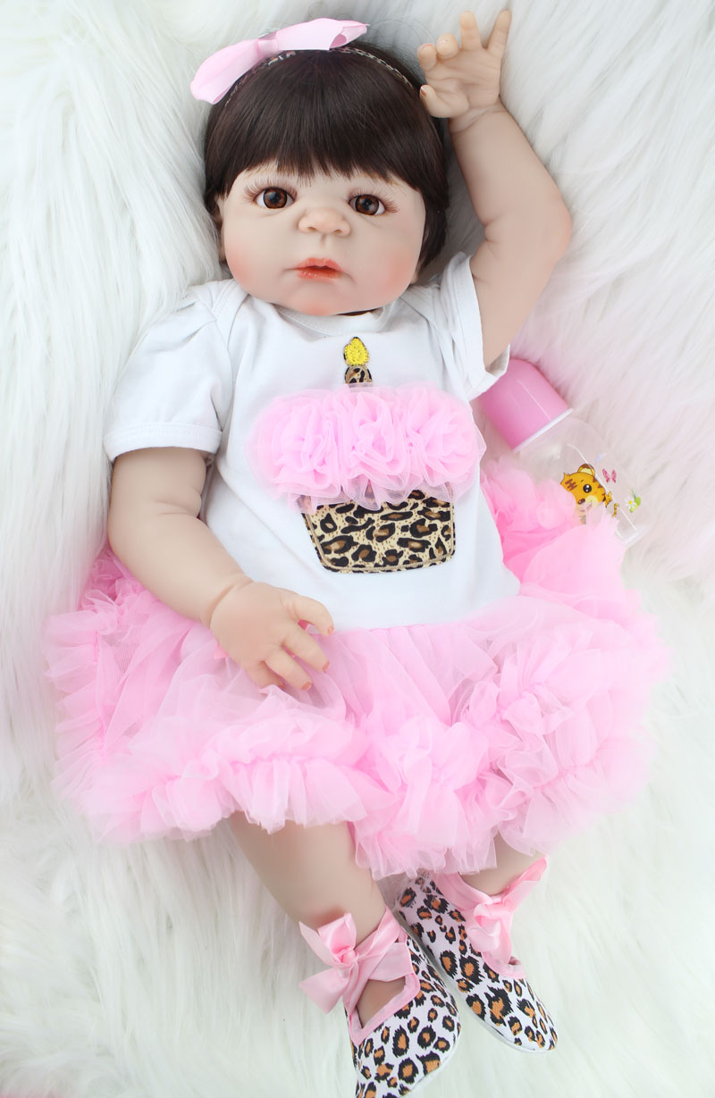 Realistic 55cm Full Silicone Bebe Reborn Baby Girl Lovely 22 Vinyl Newborn Baby Toddler Doll Princess Waterproof Body Bathe ToyRealistic 55cm Full Silicone Bebe Reborn Baby Girl Lovely 22 Vinyl Newborn Baby Toddler Doll Princess Waterproof Body Bathe Toy