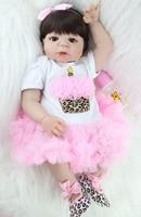 Realistic 55cm Full Silicone Bebe Reborn Baby Girl Lovely 22 Vinyl Newborn Baby Toddler Doll Princess Waterproof Body Bathe Toy