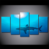5 Panel Deep Blue Ocean Painting Big Shark Wall Pictures Modular Paintings Wall Art Frames Posters