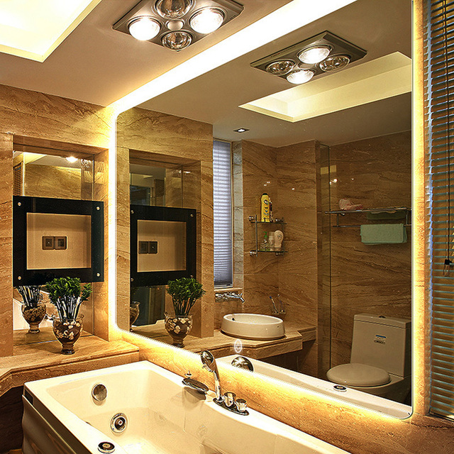 Warm Light Backlight Led No Frame Mirror Wall Mount Bathroom Finger Touch Lateral Suspension